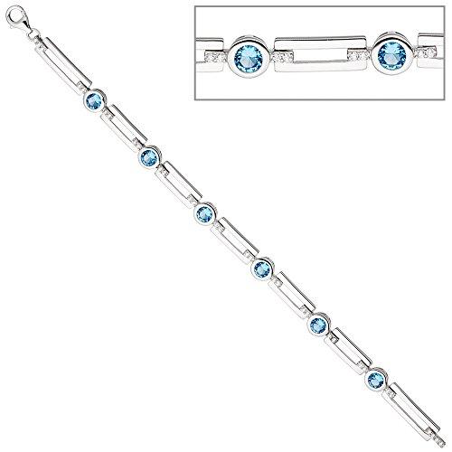 Jobo-Bracelet Femme-Argent 925Bracelet en argent avec oxyde de zirconium clair et blanc 19cm