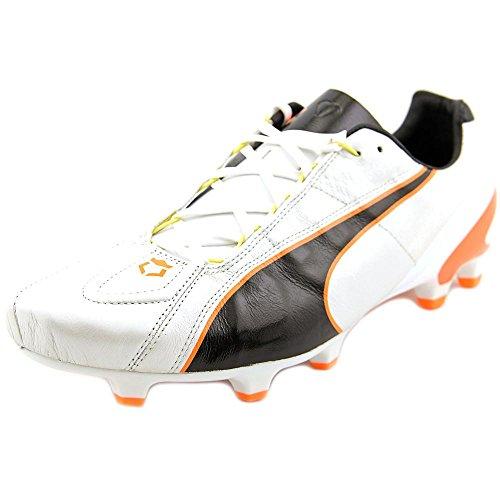 PUMA Men's King II FG Soccer Shoe, White/Black/Fluorescent Flash Orange, 8 M US