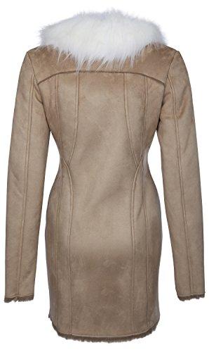 USHA - Abrigo de cuello de imitación piel amovible 15434992 - Mujer Arena
