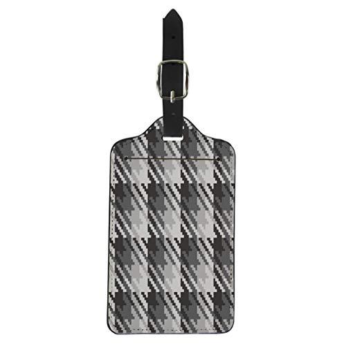 Pinbeam Luggage Tag Tweed Pixelated Houndstooth Plaid in Custom Colors Pattern Suitcase Baggage Label ()