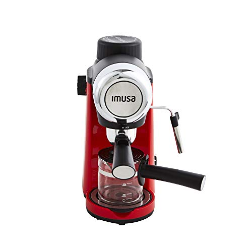 IMUSA USA 4 Cup Epic Electric Espresso/Cappuccino Maker, Red 800 Watts - Coffeenza