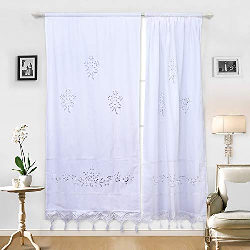 DOKOT White Cafe Curtain Embroidered Floral Cotton French Country Victorian Panel Window Curtain with Crochet Tassel, 27 x 59 inches, 1-Panel