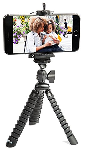LOHA Flexible Tripod Phone Holder for iPhone Xs, Samsung Galaxy and Other Smart Phone Brands - with Bendable Octopus Legs for Additional Support from LOHA