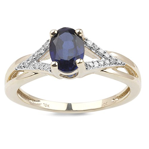 Lab Created Blue Sapphire Ring Diamond Accents in 10k Yellow Gold and White Rhodium Plated Accents (Ring Created Lab Sapphire)