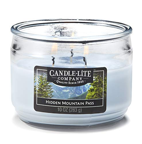 Jar Candle 3 Wick (Candle-Lite Everyday Scented Hidden Mountain Pass 3-Wick Jar Candle 10 oz. Light Blue)