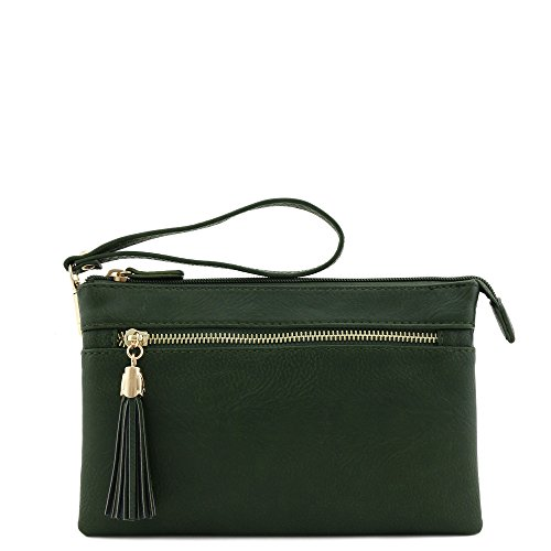 Crossbody Wristlet with Olive Tassel Bag Double Compartment EqBZwRa