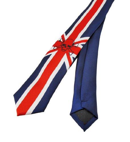 Rock Tie - British Union Jack Flag Skull Print Skinny Necktie England Punk Rock