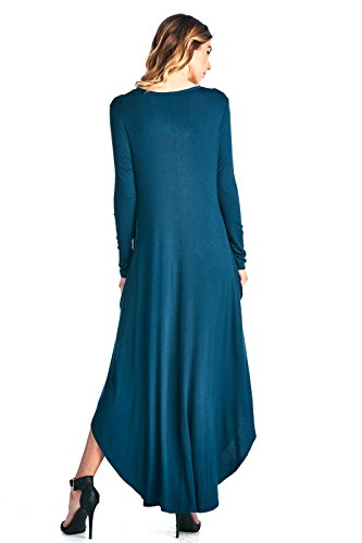 Maxi Made Hem Sleeve Ami S V XXXL 12 Neck in Curved Long Dress Teal USA Pq0EcR