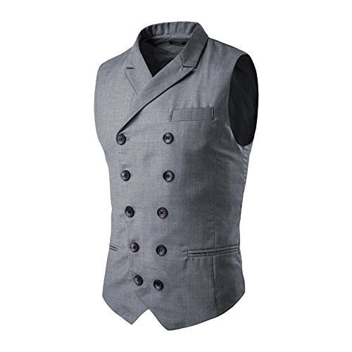 Tuxedo Double Mens Breasted (MAGE MALE Men's Suit Vest Designer Solid V-Neck Double Breasted Lapel Slim Fit Business Dress Waistcoat (5XL, Grey))