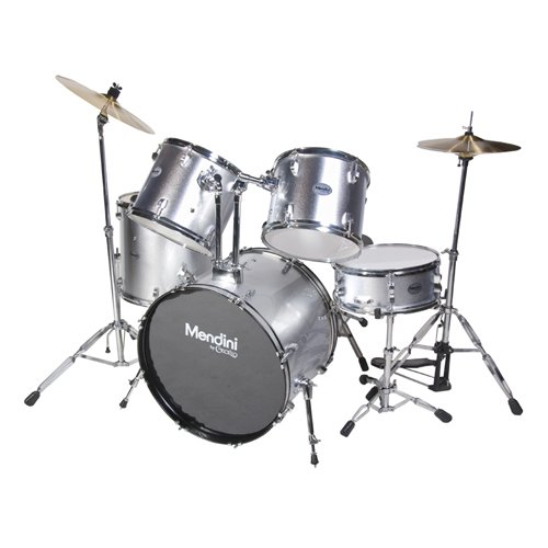 mendini-mds100-sr-complete-full-size-senior-5-piece-silver-drum-set-with-cymbals-drumsticks-and-thro