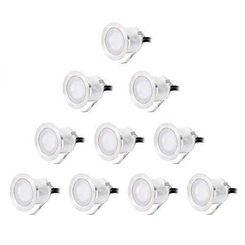 CroLED® LED 10er Set Ø32mm Boden Einbaustrahler Licht IP67 Wasserdicht Außen Lampe Küche Garten Einbauleuchten