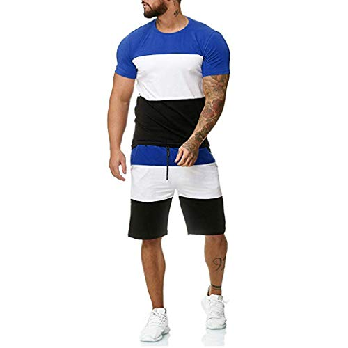 iYBUIA Men's 2 Piece Outfit Sport Set Short Sleeve Summer Leisure Motion Elastic Rope Short Pants Thin Section Sets Blue
