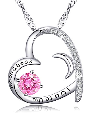 Love Heart Half Moon and Sun Jewelry Gifts for Wife Women Pink Tourmaline Necklace Pendant Jewelry Birthday Anniversary Gifts for Her for Lady, Serling Silver Swarovski 18