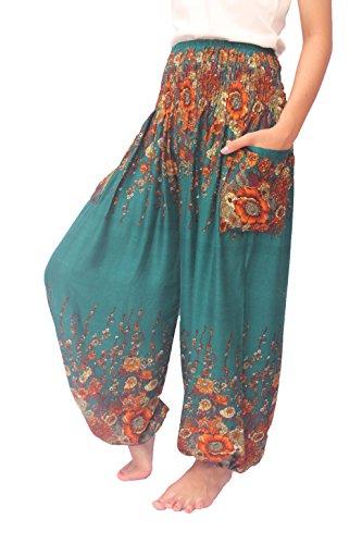 ChiangmaiThaiShop Yoga Boho Harem Pants Plus Size for Men & Women Elastic Waist Loose Rayon