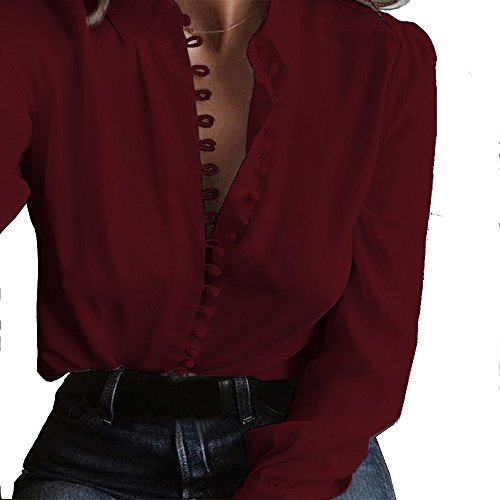 ofndd66 Women Sexy Solid Office Work Blouse Casual Party Business Elegant Shirt Wine Red XL ()