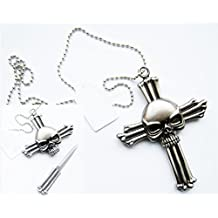 Ace Martial Arts Silver Skull On Cross Neck Knife With Hidden Blade and Necklace