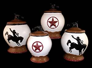 western kitchen canister sets 4pc canister set cowboy western decor cookie 22657