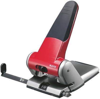 Perforador para 2 agujeros capacidad para 65 hojas de 80 g color rojo y gris Leitz 5180-01-25