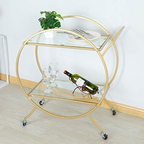 Rolling Service Cart with Handle 2 Tier, Kitchen Hotel Bar Trolley, Multi-Function Practical Wine Display Cabinet Gold Wrought Iron Round Design 703880cm