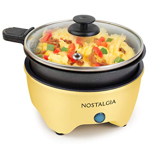 Nostalgia MSK5YW MyMini Personal Electric Skillet & Rapid Noodle Maker Perfect For Ramen, Pasta, Mac & Cheese, Stir Fry, Soups, Omelets, Hard-Boiled Eggs, Pancakes-Yellow