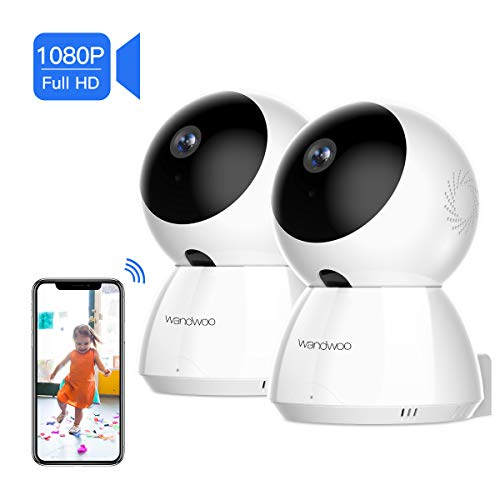 [2019 New] IP Security Camera, Wandwoo 2 PCS 1080P Wireless Security Camera with Night Vision Two-Way Audio PTZ Control Home Camera White for Baby Monitor Pet Camera Nanny Camera