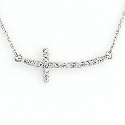 United Elegance - Contemporary Sideways Cross Necklace with Twinkling Swarovski Style Crystals in a Silver Tone Setting (Side Cross)