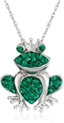 """Sterling Silver Emerald-Green Crystal Frog Pendant Necklace, 18"""""""
