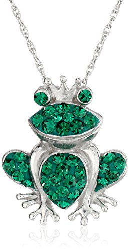 Sterling Silver Emerald-Green Crystal Frog Pendant Necklace, (Emerald Frog Pendant)