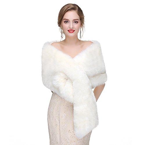 Luyao Women's Faux Fur Shawl Shrug Universal Girl Wraps (Fur Stole White Fake)