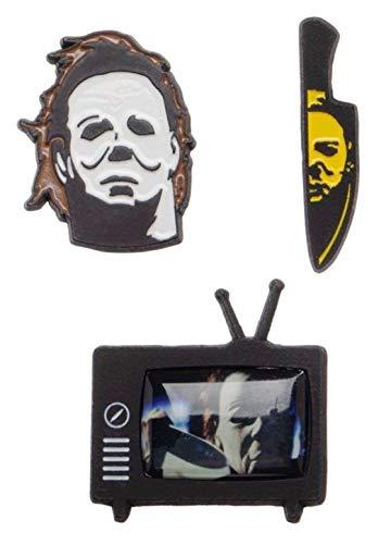 Main Street 24/7 Halloween Mike Myers Set of 3 Enamel Metal Logo -