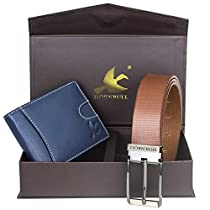 Hornbull Mens Navy Wallet and Brown Belt Combo BW102112
