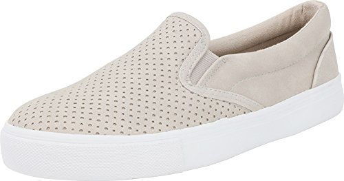 SODA IF14 Women's Perforated Slip On Elastic Panel Athletic Fashion Sneaker, Color:Clay Nubuck, Size:7