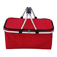 31L Large Capacity Insulated Picnic Food Basket Cooler Bag Collapsible with Dual Carrying Handles for Hiking Shopping Holidays Outdoor Travel Picnic Red