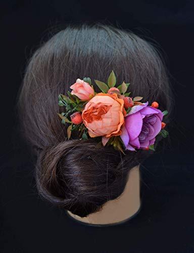 Orange Purple Flowers - Orange Purple flower comb bridal hair accessory floral headpiece for bride women flower girl