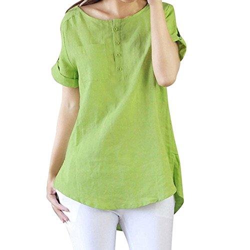 Laches Lin Hauts en T d't Femmes Manches Occasionnels Courtes Shirts pour en keephen Manches Vert Courtes Clair Chemisiers Coton Coton 4z7dEnAzxq