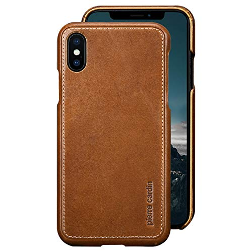 iPhone Xs Leather Case,iPhone X Leather Case,Pierre Cardin Premium Genuine Cowhide with New Slim Design Snap Hard Back Cover for Apple iPhone X/Xs(5.8