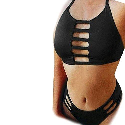 Vandot Women Brazilian Bikini Vintage Retro Swimwear Brasileño Bikini Set Design 2 Black