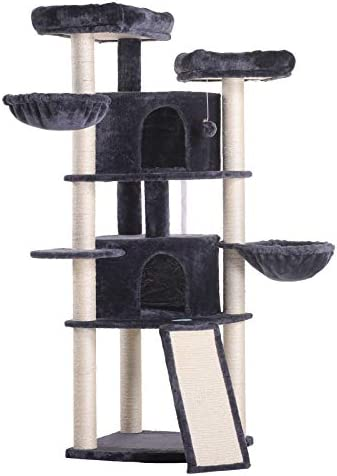 Árbol para Gatos, Rascador, Torre de Escalada con 2 Nidos, 2 Plataformas Grandes, 2 Cestas, Postes Recubiertos de Sisal, 132cm. color Gris