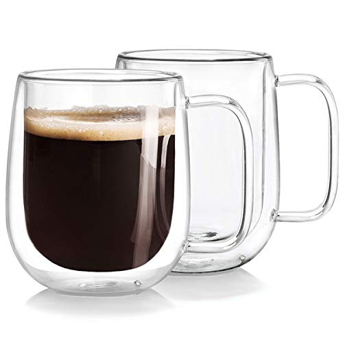 (Double Wall Glass Coffee Mugs Tea Cups Set of 2, Thermal Insulated and No Condensation with Wide Handle, 12OZ (360ML))