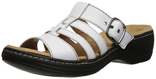 Clarks Womens Hayla Cavern Wedge Sandal White