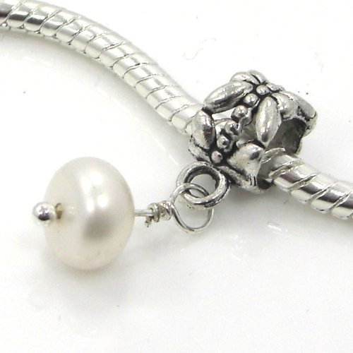 Synthetic Pearl Charm - Jewelry Monster Silver Finish
