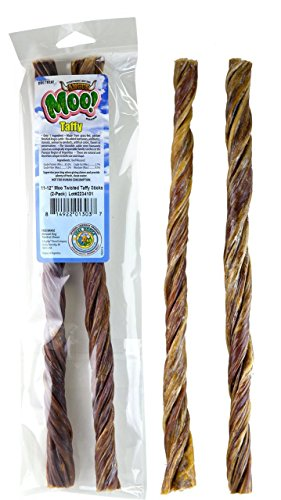 11-12 Inch Free Range Moo! Taffy Twists, Beef Jerky Taffy Dog Treats - 2 Pack