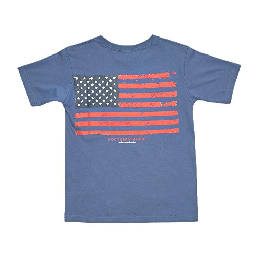 Stone Youth T-shirt (Southern Marsh Youth Vintage Flag Tee in Blue Stone (Youth Medium 8/10, Blue Stone))