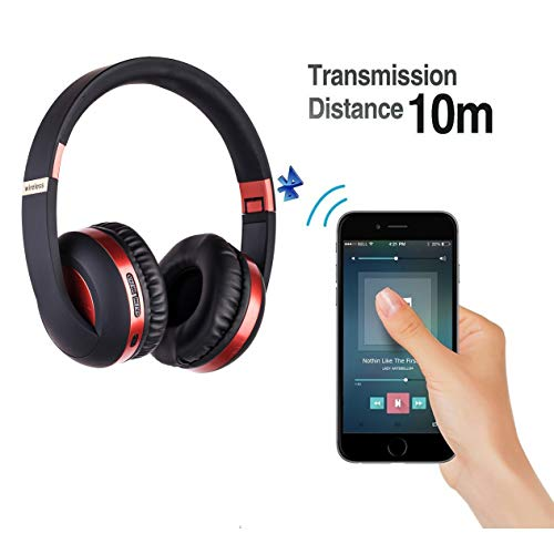 Onbio Bluetooth Headphones Over Ear, Bluetooth 5.0 Foldable Wireless Headset with Mic, Stereo Noise Cancelling Earphones, Support TF Card, FM (Red)