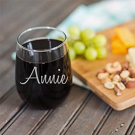 Taza de vino transparente con nombre de 15 onzas para vino tinto y blanco regalos para hombres y mujeres