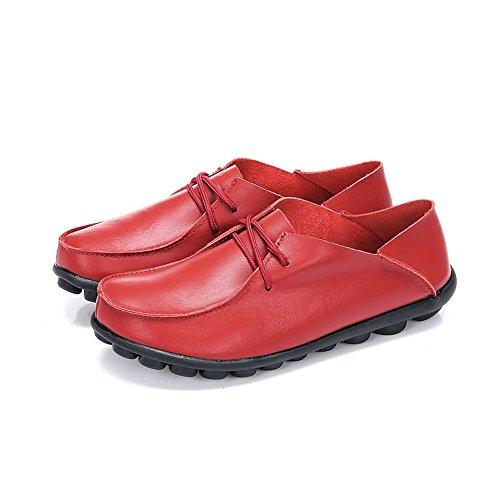 casual sintetica 35 Meimei EU da shoes uomo lacci in Scarpe con Dimensione Rosso morbida Rosso pelle Color 660qxwE