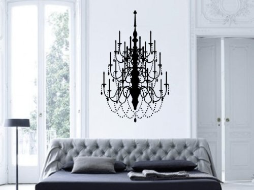 Fancy Chandelier Vinyl Wall Decal Art Decor Design Chandelier Luster Light Living room Bedroom Modern Mural Fashion Design Sticker