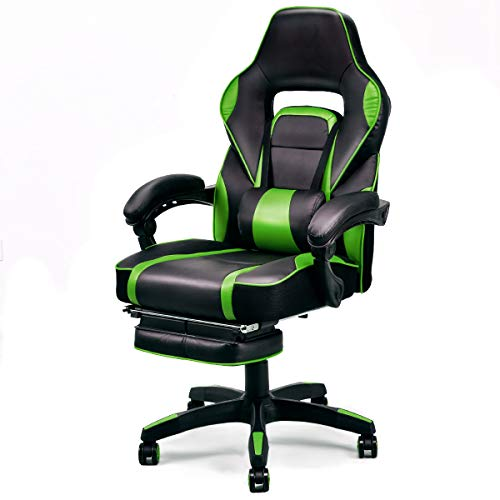 (Giantex Gaming Chair Racing Chair Ergonomic High-Back with Footrest and Lumbar Support Adjusting Swivel Executive Office Desk Gaming Chair (Green))