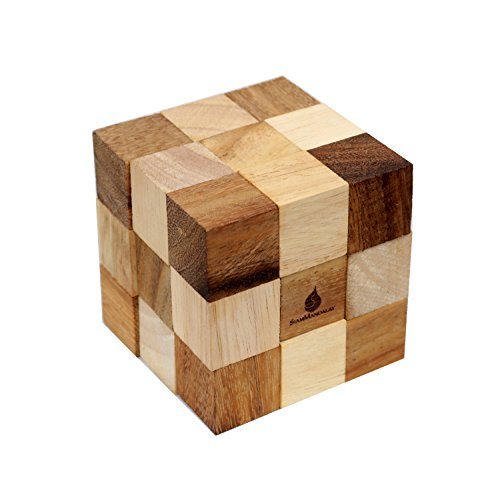 Dark Brown Serpent Cube: Handmade & Organic Traditional Wood Game for Adults from SiamMandalay with SM Gift Box(Pictured)