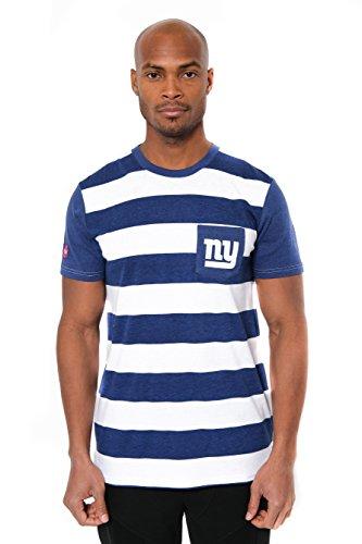 Icer Brands NFL New York Giants Men's T-Shirt Stripe Pocket Short Sleeve Tee Shirt, X-Large, Blue -